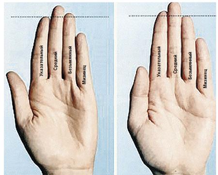 Мачо - безымянный палец длиннее указательного. Не мачо - безымянный палец короче указательного.
