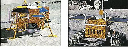 Посадочный модуль корабля «Чанъэ-3» (слева) и китайский луноход (справа).