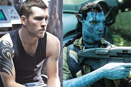 Актер Сэм Уортингтон, сыгравший морпеха Джейка Салли, полфильма предстает на экране в образе синего существа с хвостом (фото справа).