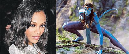 Восходящая голливудская звезда Зои Салдана ни разу не появилась в фильме в человеческом обличье - она сыграла на'вийскую принцессу Найтири.
