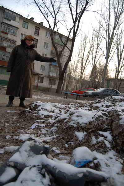 На горы листьев жильцы дома уже начали сбрасывыть мусор и елки.Фото Ирины Макушинской.