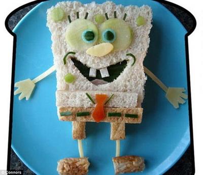 Сэндвич в виде Губки Боба пользуется у детей огромной популярностью. Фото: Funkylunch.com