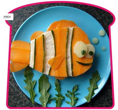 Рыбка Немо из хлеба и морковки. Фото: Funkylunch.com