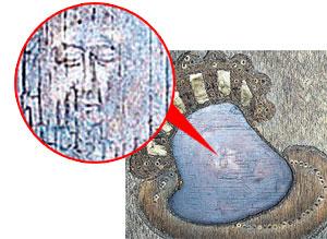 А чуть повернешь образ под углом - и его изображение меняется на лик Христа (справа).
