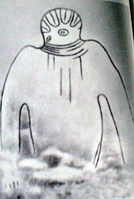 Этот древний рисунок, найденный в пещере Сахары, и правда похож на скафандр.