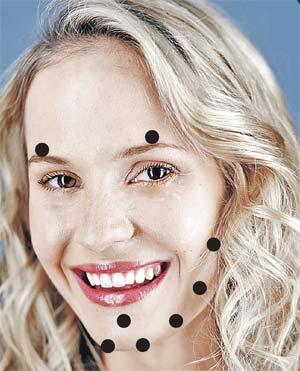 Массаж кончиками пальцев 1 - 2 минуты. Черные кружки - активные точки.