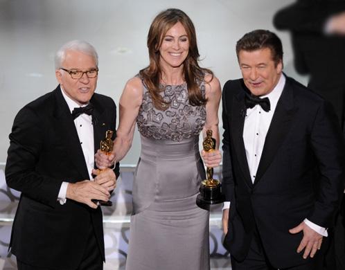 Кэтрин Бигелоу со Стивом Мартином и Алеком Болдуином. Фото: АП