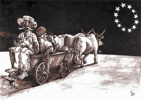 Рисунок Ореста БАЧИНСКОГО. Из работ, присланных на Первый международный конкурс карикатур, посвященных 10-летию Независимости Украины.