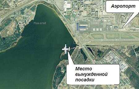 Схема места происшестия - таллинский аэропорт и место падения самолета.