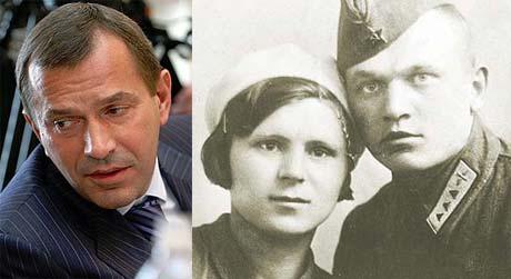 Дед первого вице-премьера Андрей Святкин летал на истребителе, сделанном из фанеры (на фото - с женой Еленой).