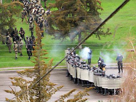 Милиция была вынуждена применить слезоточивый газ. Фото: