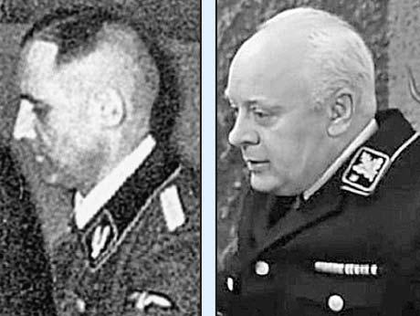 А вот шеф гестапо Мюллер в исполнении Леонида Броневого (на фото справа) оказался несколько староват и лысоват по сравнению со своим прообразом (слева).