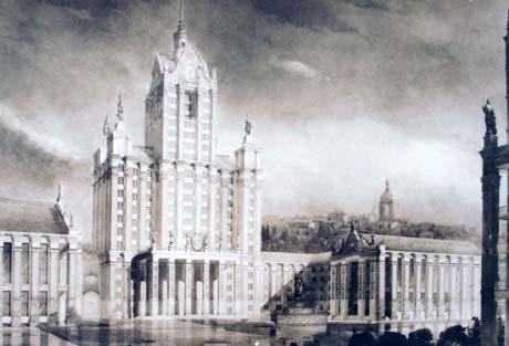 Крещатик, 36, - один из самых знаменитых адресов в городе: здесь размещена столичная мэрия. Современное здание, построенное по всем канонам тоталитарной архитектуры, изначально должно было выглядеть как огромный собор в стиле барокко с колоннами и шпилем.
