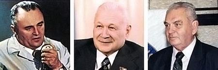 На фото (слева направо) - конструктор Сергей Королев, создатель двигателей Владимир Челомей, конструктор Василий Мишин.