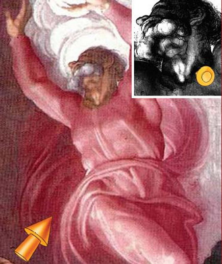 Для тайного рисунка мастер выбрал шею Господа, отделяющего свет от тьмы