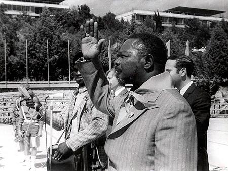 Почетный артековец людоед Жан-Бедель Бокасса из Центральной Африки посетил «Артек» в 1973 году.