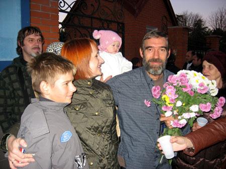 Жена Ирина, сын Антон и маленькая Олеся наконец-то дождались папу