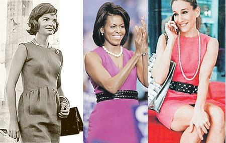 Жаклин Кеннеди (слева) и Сара Джессика Паркер (Кэрри из «Секса в большом городе» на фото справа) послужили Мишель (она в центре) образцами для подражания.