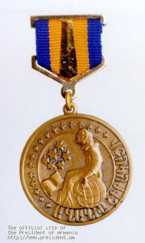 За ликвидацию последствий катастрофы 1989 года лидер ПР уже получил от премьер-министра закавказской страны вот такую медаль.