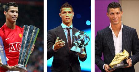 ...ранее он в уходящем году собрал внушительную коллекцию трофеев: приз лучшему игроку мира по версии FIFPro - Федерации футболистов-профессионалов (слева), приз лучшему игроку Лиги чемпионов по версии УЕФА (в центре) и «Золотую бутсу» лучшему бомбардиру