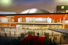 Кинотеатр будет необычным по своей форме и оснащению.