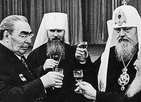 Леонид Брежнев, Алексей Ридигер, Патриарх Пимен.