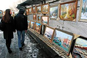 Уличные художники мечтают продать хоть одну картину в месяц.
