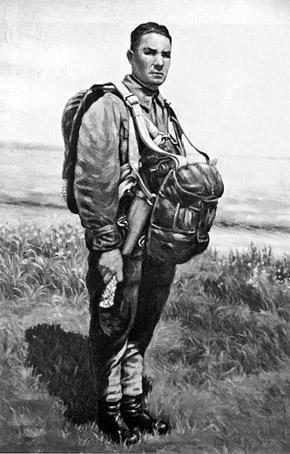 Василий Маргелов перед своим первым прыжком с парашютом.