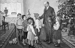 К Ильичу на елку в Горках собирали крестьянских детишек из окрестных деревень.