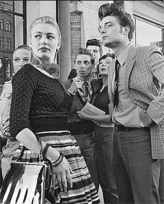 Стиляги были первыми, кто продвигал гламур в СССР. Вот как выглядели бы в 50-е Ксения Собчак и Тимати.