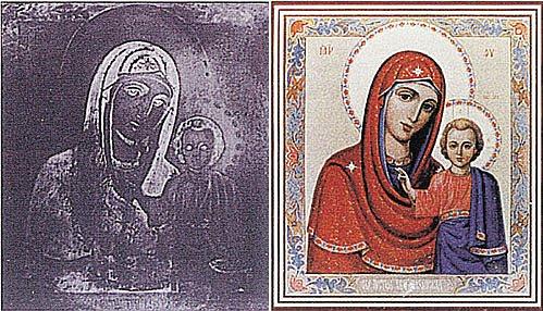 «Удвоение икон» - явление редкое. Ученые провели кучу анализов, но до сих пор не смогли объяснить: каким именно способом образ дублируется на стекле (фото слева), покрывающем икону. Тут без чуда явно не обошлось.