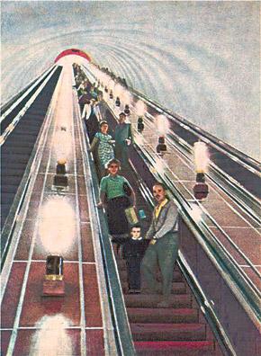 Станция метро «Арсенальная» в начале 60-х. Эскалатор считался настоящим развлечением для взрослых и детей.
