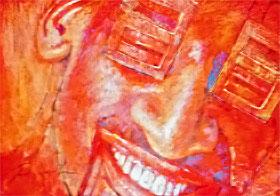 Из цикла «Живые дома», 2006. Тонированная бумага, пастель, 70х100.