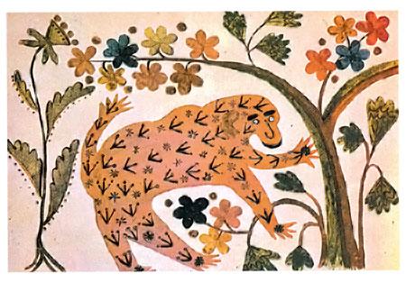 Одна из первых картин Примаченко - «Розовая обезьяна» (1936).