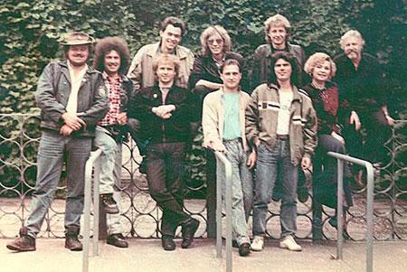 Группа «Цветы» (состав 1989 года). Третий слева - Владимир Долгов, вверху посредине - Александр Лосев.