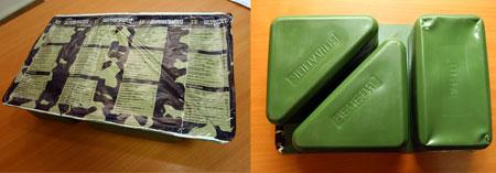 Аскетичную упаковку сухпайка цвета хаки можно разломить на три части: «завтрак», «обед» и «ужин».