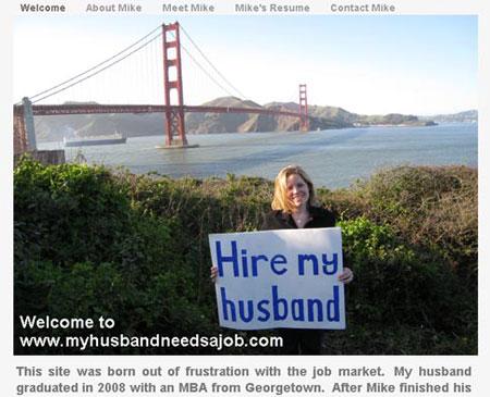 Главная страница сайта. На плакате Робин написано: «Наймите моего мужа!»