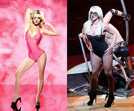 На рекламных снимках мускулистые бедра Бритни стали тоньше, а ножки напоминают спичечки. Фото: Daily Mail и celebritieswonder.net