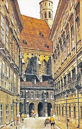 Картина кисти Гитлера - его родной дом в Браунау, 1912 г.