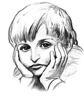 Хоть детских фотографий писателя практически не сохранилось, художники не устают рисовать его. Вот таким, по мнению полтавского художника Евгения Путри, был Никоша.