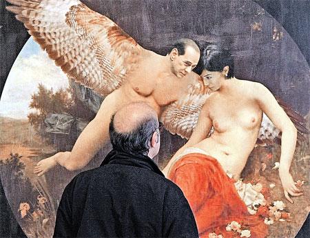 Ангельская парочка: премьер Берлускони и бывшая модель, а ныне министр Мара Карфанья. Художник Филиппо Пансеки изобразил их неземными существами, словно намекая: никаких отношений, кроме платонических, между ними быть не может...