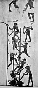 На этой фреске изображена лестница на колесиках. А считалось, что египтяне 2500 лет назад колеса не знали...
