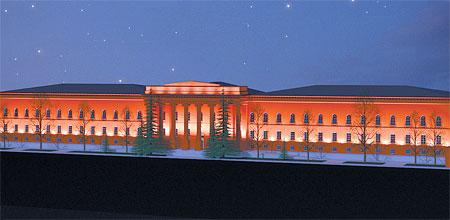 Национальный университет украсят красные и желтые прожектора.