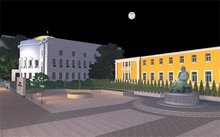 Дом учителя подсветят в национальном стиле: синим и желтым цветом.
