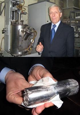 По мнению Геннадия Кожемякина, для высоких технологий будущего висмут (на нижнем фото) – ценнее драгоценных металлов!