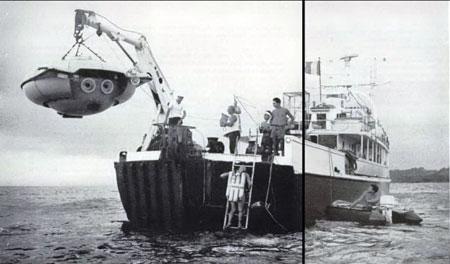 С 1959 г. на «Калипсо» базировалась мини-подлодка типа «ныряющее блюдце». Глубина ее погружения - до 300 м, скорость - 1,5 узла.
