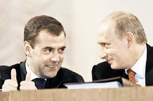 Медведев - Путину: - Мы с вами вместе отлично поработаем, Владимир Владимирович!