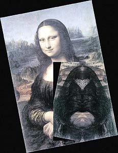 Лик Яхве скрыт и на знаменитой Джоконде. Он «проявляется», если приложить зеркало к правому плечу Моны Лизы.