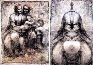 Лик Яхве на картине с мадоннами впечатляет. Хотя почему-то напоминает Дарта Вейдера из «Звездных войн» и пришельца из фильма «Хищник» одновременно. Но кто скажет, что Леонардо не прав? Или прав? Реального-то лика нет. Сравнить не с чем.