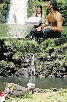 Водопад, где плавали сериальные Сойер и Кейт, - излюбленное место туристов на Гавайях. Правда, в кино это место несколько усовершенствовали...